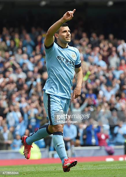 Sergio Aguero of Manchester City celebrates after scoring his team's third goal during the Barclays Premier League match between Manchester City and...