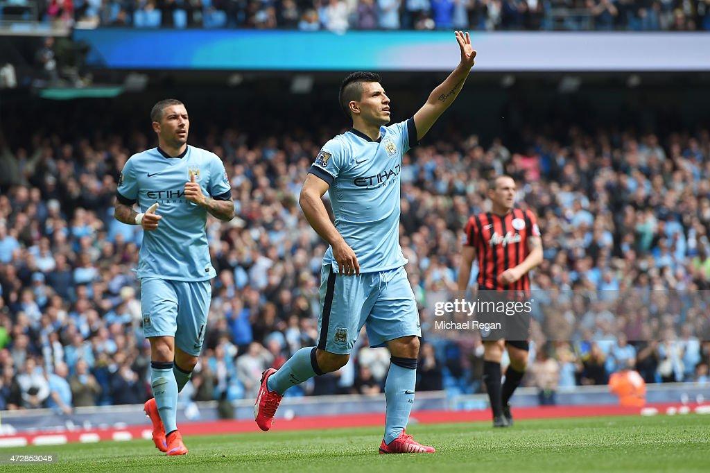 Sergio Aguero of Manchester City celebrates after scoring his team's third goal during the Barclays Premier League match between Manchester City and Queens Park Rangers at the Etihad Stadium on May 10, 2015 in Manchester, England.