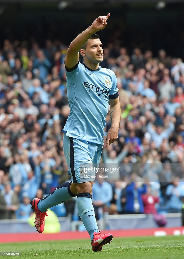 <a gi-track='captionPersonalityLinkClicked' href=/galleries/search?phrase=Sergio+Aguero&family=editorial&specificpeople=1100704 ng-click='$event.stopPropagation()'>Sergio Aguero</a> of Manchester City celebrates after scoring his team's third goal during the Barclays Premier League match between Manchester City and Queens Park Rangers at the Etihad Stadium on May 10, 2015 in Manchester, England.