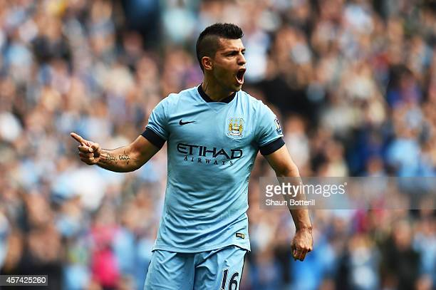 Sergio Aguero of Manchester City celebrates after scoring hius team's third goal during the Barclays Premier League match between Manchester City and...