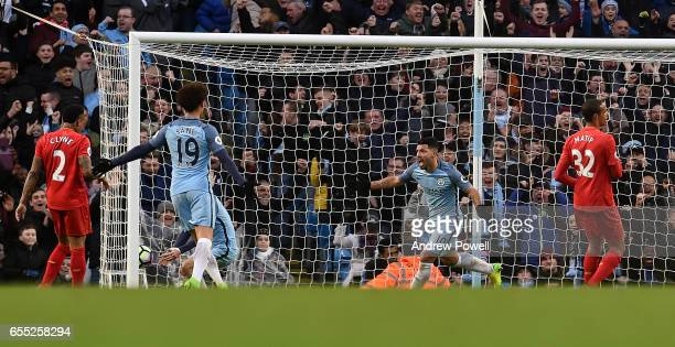 Sergio Aguero of Manchester City Celebrates after scoring Man City Equiliser during the Premier League match between Manchester City and Liverpool at...