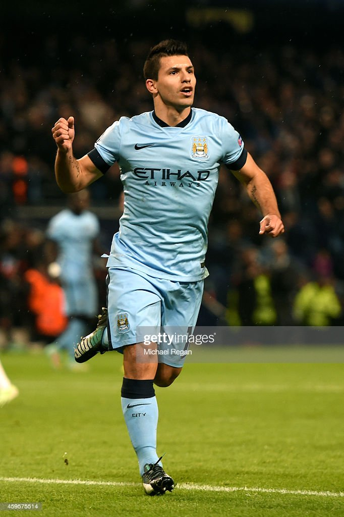 <a gi-track='captionPersonalityLinkClicked' href=/galleries/search?phrase=Sergio+Aguero&family=editorial&specificpeople=1100704 ng-click='$event.stopPropagation()'>Sergio Aguero</a> of Manchester City celebrates after scoring the opening goal from the penalty spot during the UEFA Champions League Group E match between Manchester City and FC Bayern Muenchen at the Etihad Stadium on November 25, 2014 in Manchester, United Kingdom.