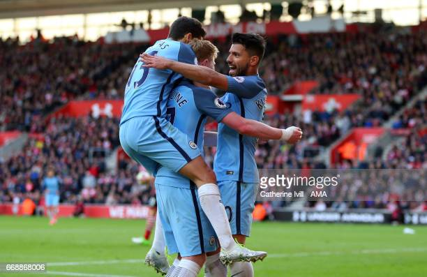 Sergio Aguero of Manchester City celebrates after scoring to make it 03 during the Premier League match between Southampton and Manchester City at St...