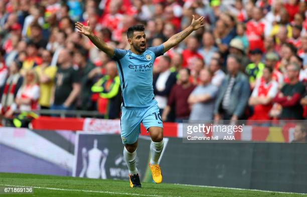 Sergio Aguero of Manchester City celebrates but has his goal disallowed during the Emirates FA Cup semifinal match between Arsenal and Manchester...