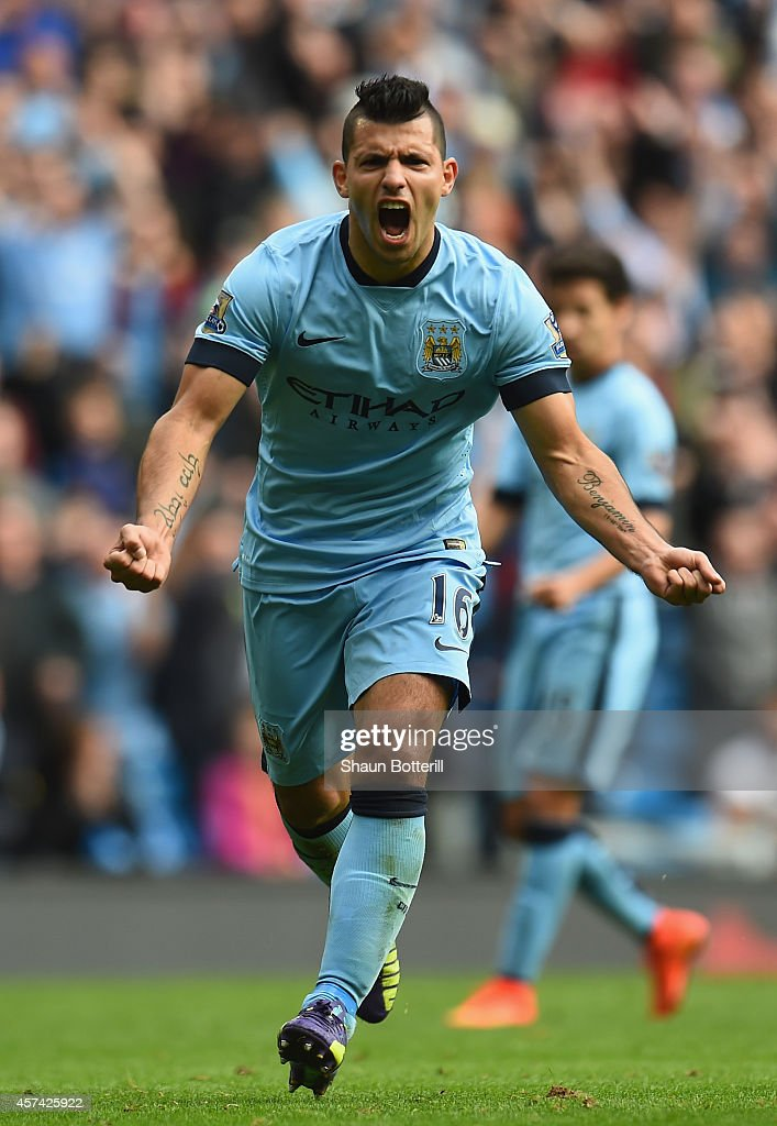 Sergio Aguero of Manchester City celebrates his hatrick after scoring from the penalty spot during the Barclays Premier League match between Manchester City and Tottenham Hotspur at Etihad Stadium on October 18, 2014 in Manchester, England.