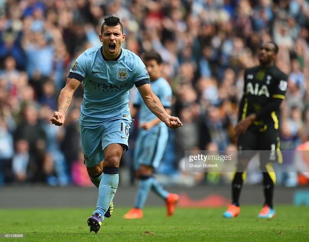 Sergio Aguero of Manchester City celebrates his hatrick after scoring from the penalty spot during the Barclays Premier League match between...