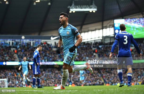 Sergio Aguero of Manchester City celebrates his team's first goal scored by Gary Cahill of Chelsea during the Premier League match between Manchester...
