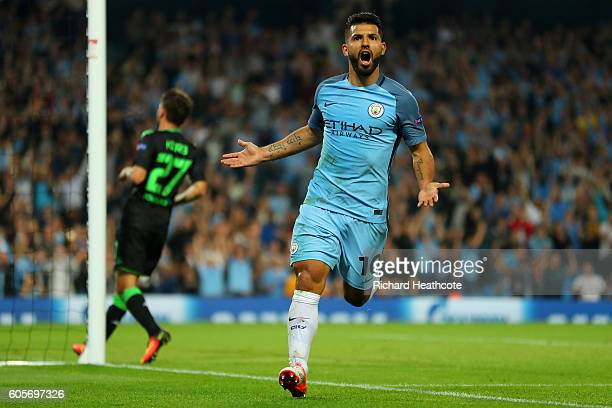 Sergio Aguero of Manchester City celebrates his third goal during the UEFA Champions League match between Manchester City FC and VfL Borussia...