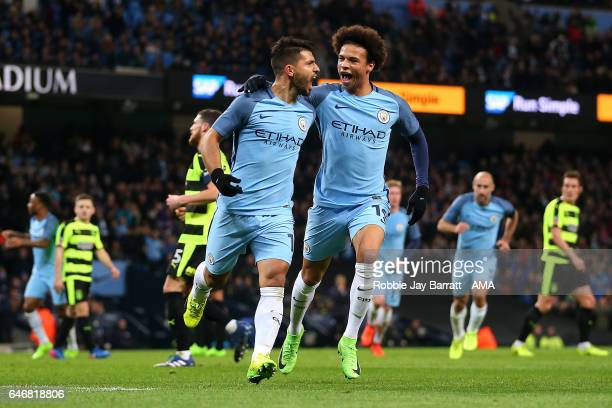 Sergio Aguero of Manchester City celebrates scoring a goal to make the score 21 with team mate Leroy Sane during the Emirates FA Cup Fifth Round...