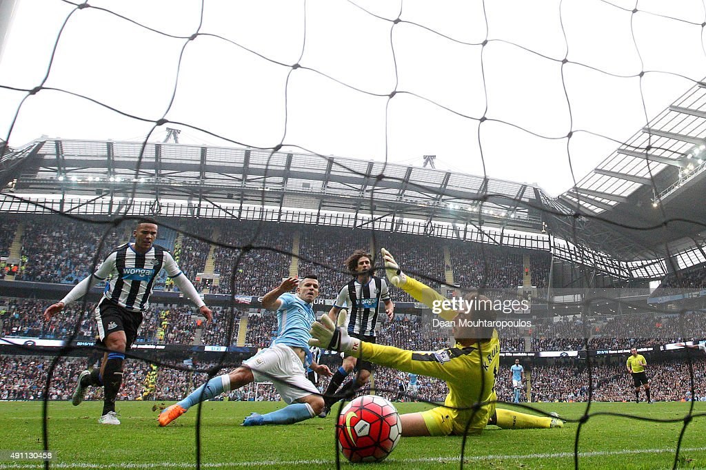 Sergio Aguero of Manchester City celebrates scoring his fifth and team's six goal during the Barclays Premier League match between Manchester City and Newcastle United at Etihad Stadium on October 3, 2015 in Manchester, United Kingdom.