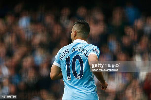 Sergio Aguero of Manchester City celebrates scoring his fifth goal during the Barclays Premier League match between Manchester City and Newcastle...