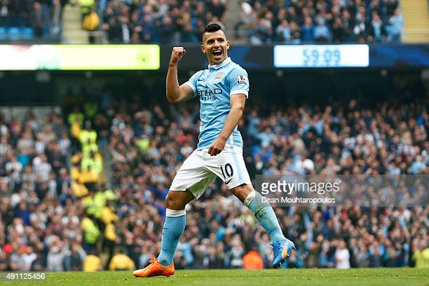 Sergio Aguero of Manchester City celebrates scoring his fourth and team's fifth goal during the Barclays Premier League match between Manchester City...