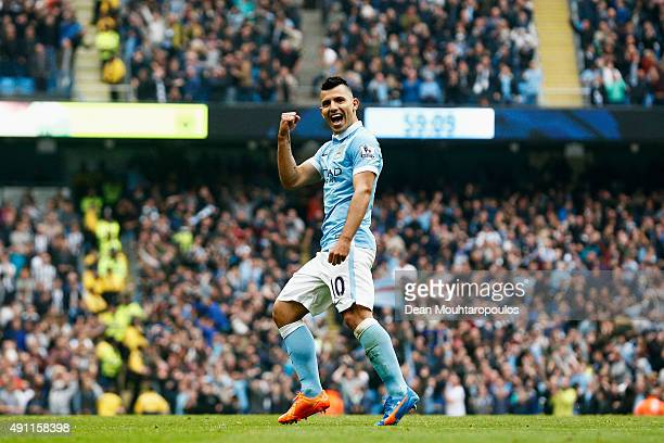Sergio Aguero of Manchester City celebrates scoring his fourth goal during the Barclays Premier League match between Manchester City and Newcastle...