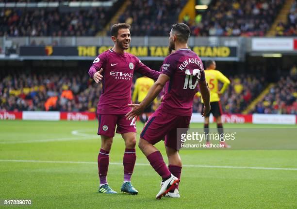 Sergio Aguero of Manchester City celebrates scoring his sides fifth goal with Bernardo Silva of Manchester City during the Premier League match...