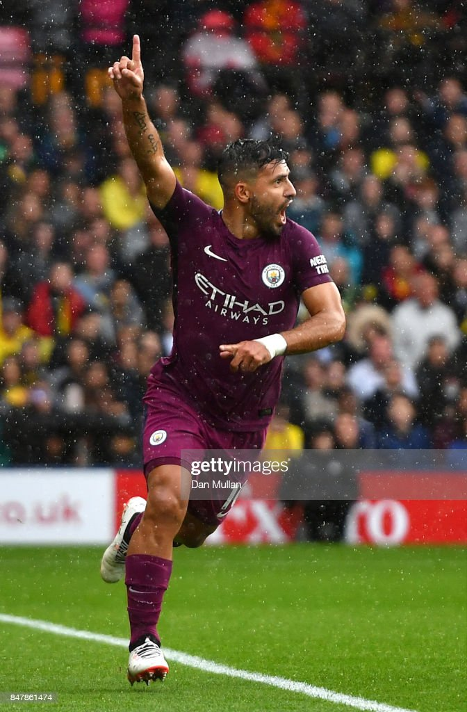 Sergio Aguero of Manchester City celebrates scoring his sides first goal during the Premier League match between Watford and Manchester City at Vicarage Road on September 16, 2017 in Watford, England.