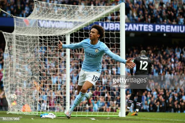 Sergio Aguero of Manchester City celebrates scoring his sides first goal during the Premier League match between Manchester City and Crystal Palace...