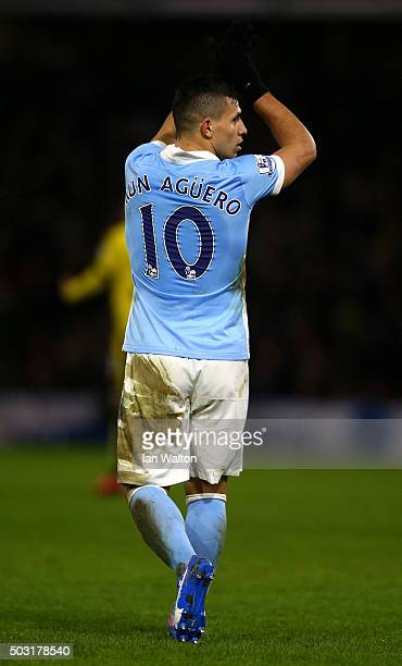 Sergio Aguero of Manchester City celebrates scoring his side's second goal during the Barclays Premier League match between Watford and Manchester...