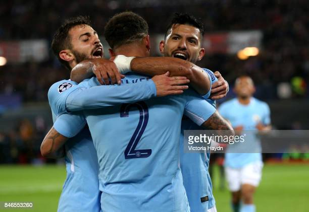 Sergio Aguero of Manchester City celebrates scoring his sides second goal with Kyle Walker of Manchester City and David Silva of Manchester City...