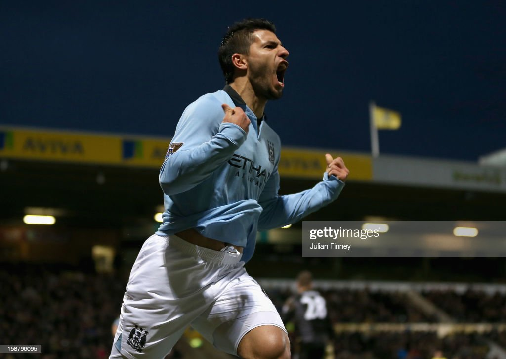 Sergio Aguero of Manchester City celebrates scoring his side's third goal during the Barclays Premier League match between Norwich City and Manchester City at Carrow Road on December 29, 2012 in Norwich, England.