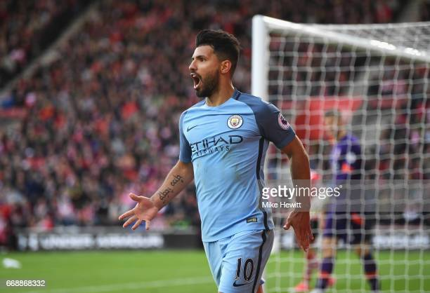 Sergio Aguero of Manchester City celebrates scoring his sides third goal during the Premier League match between Southampton and Manchester City at...