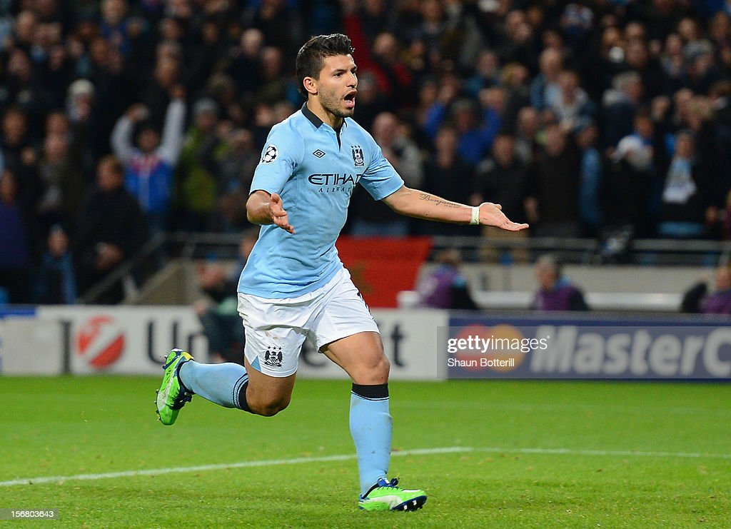 Sergio Aguero of Manchester City celebrates scoring his team's first goal, from a penalty, to make the score 1-1 during the UEFA Champions League Group D match between Manchester City FC and Real Madrid CF at the Etihad Stadium on November 21, 2012 in Manchester, England.