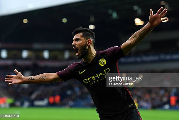 Sergio Aguero of Manchester City celebrates scoring his team's first goal during the Premier League match between West Bromwich Albion and Manchester...
