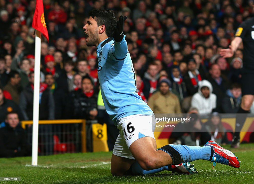 <a gi-track='captionPersonalityLinkClicked' href=/galleries/search?phrase=Sergio+Aguero&family=editorial&specificpeople=1100704 ng-click='$event.stopPropagation()'>Sergio Aguero</a> of Manchester City celebrates scoring his team's second goal to make the score 1-2 during the Barclays Premier League match between Manchester United and Manchester City at Old Trafford on April 8, 2013 in Manchester, England.