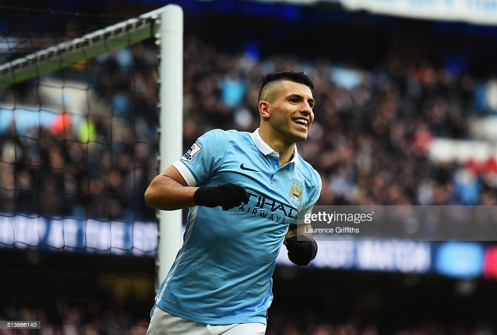 Sergio Aguero of Manchester City celebrates scoring his team's second goal during the Barclays Premier League match between Manchester City and Aston...