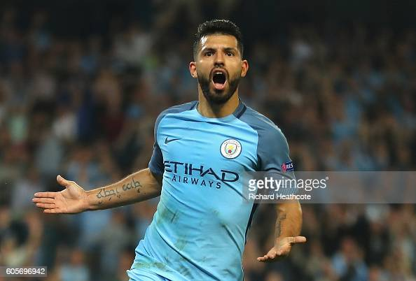 Sergio Aguero of Manchester City celebrates scoring his third during the UEFA Champions League match between Manchester City FC and VfL Borussia...
