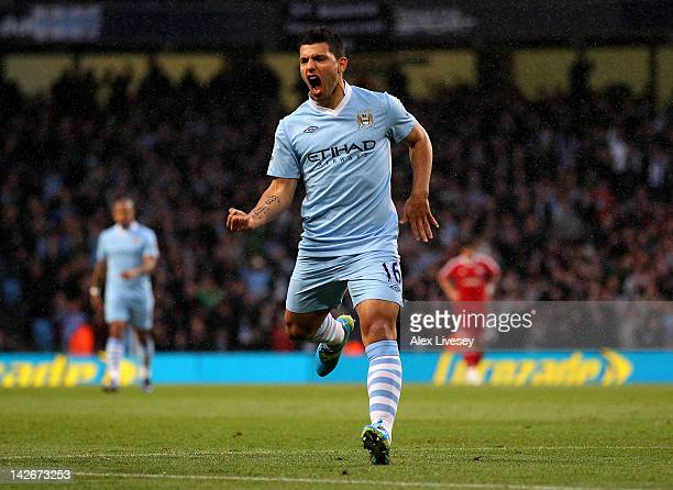 Sergio Aguero of Manchester City celebrates scoring the opening goal during the Barclays Premier League match between Manchester City and West...
