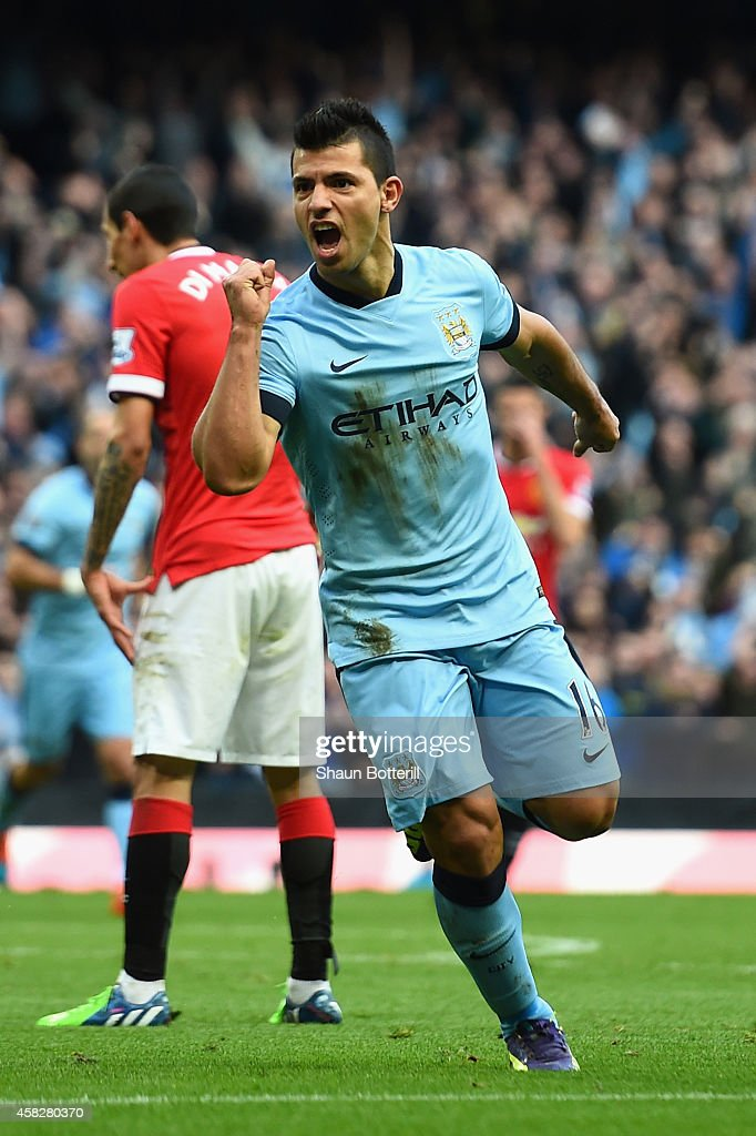 Sergio Aguero of Manchester City celebrates scoring the opening goal during the Barclays Premier League match between Manchester City and Manchester United at Etihad Stadium on November 2, 2014 in Manchester, England.