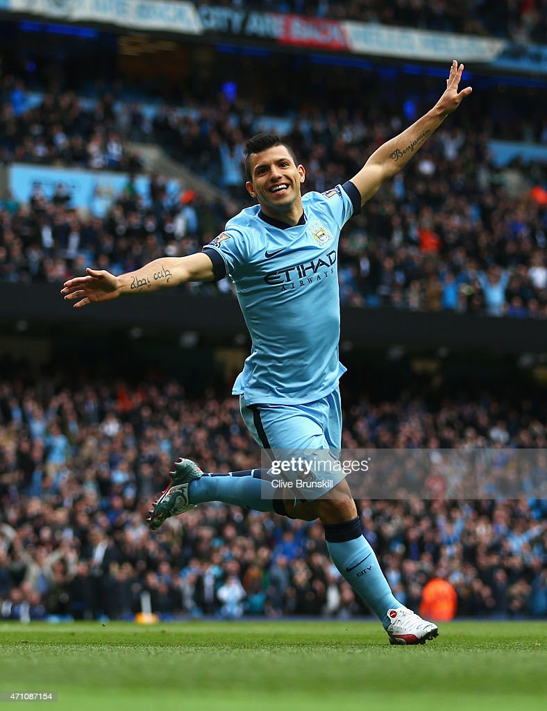 Sergio Aguero of Manchester City celebrates scoring the opening goal during the Barclays Premier League match between Manchester City and Aston Villa...