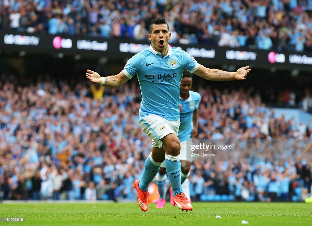 <a gi-track='captionPersonalityLinkClicked' href=/galleries/search?phrase=Sergio+Aguero&family=editorial&specificpeople=1100704 ng-click='$event.stopPropagation()'>Sergio Aguero</a> of Manchester City celebrates scoring the opening goal during the Barclays Premier League match between Manchester City and Chelsea at the Etihad Stadium on August 16, 2015 in Manchester, England.