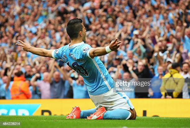 Sergio Aguero of Manchester City celebrates scoring the opening goal during the Barclays Premier League match between Manchester City and Chelsea at...