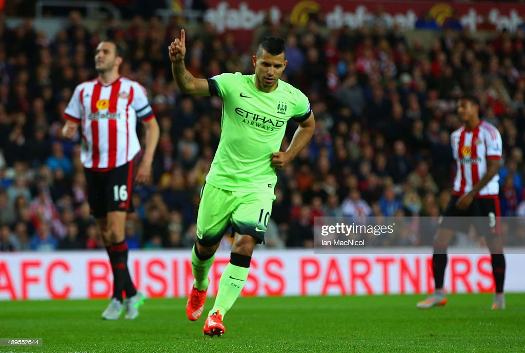 Sergio Aguero of Manchester City celebrates scoring the opening goal from the penalty spot during the Capital One Cup third round match between Sunderland and Manchester City at Stadium of Light on September 22, 2015 in Sunderland, England.