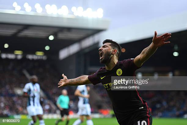 Sergio Aguero of Manchester City celebrates scoring the opening goal during the Premier League match between West Bromwich Albion and Manchester City...