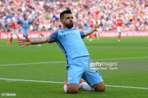 Sergio Aguero of Manchester City celebrates scoring the opening goal during the Emirates FA Cup SemiFinal match between Arsenal and Manchester City...
