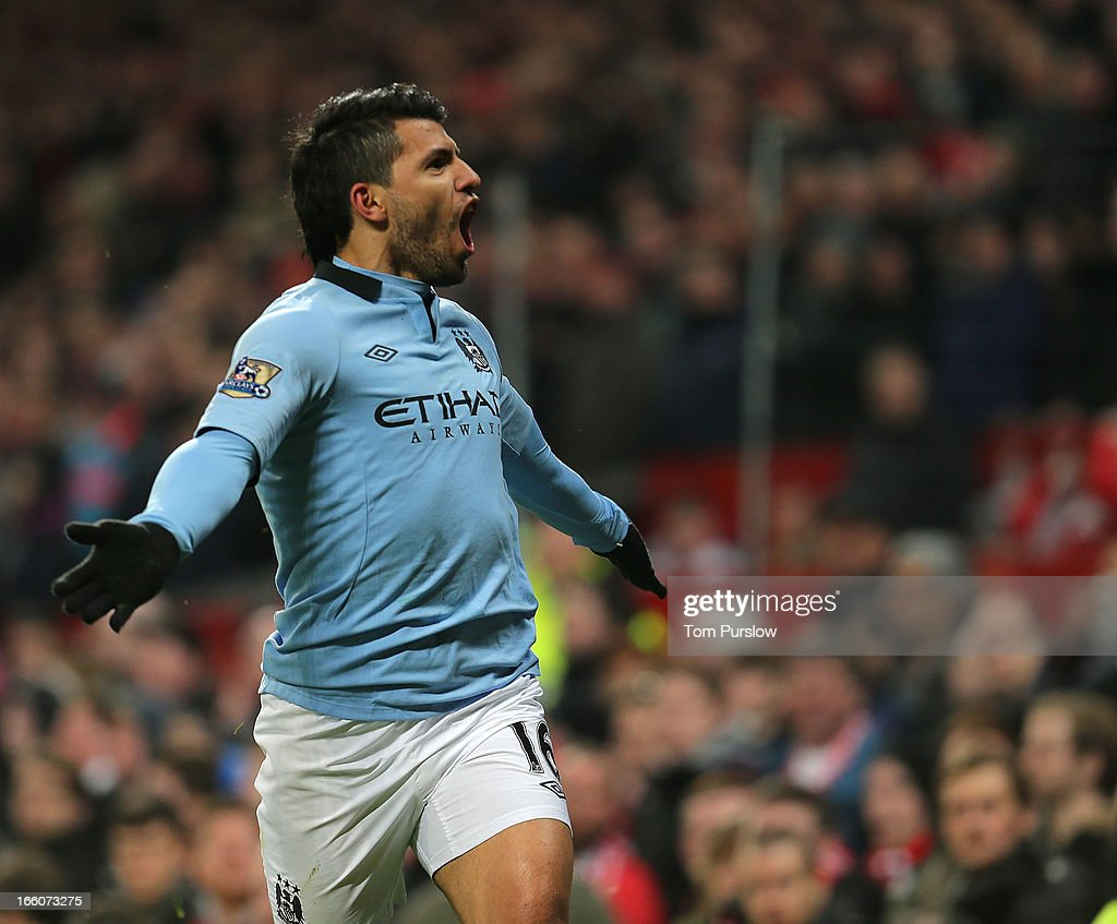 Sergio Aguero of Manchester City celebrates scoring their second goal during the Barclays Premier League match between Manchester United and Manchester City at Old Trafford on April 8, 2013 in Manchester, England.