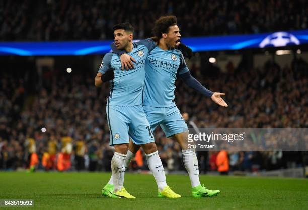 Sergio Aguero of Manchester City celebrates with Leroy Sane of Manchester City as he scores their third goal during the UEFA Champions League Round...