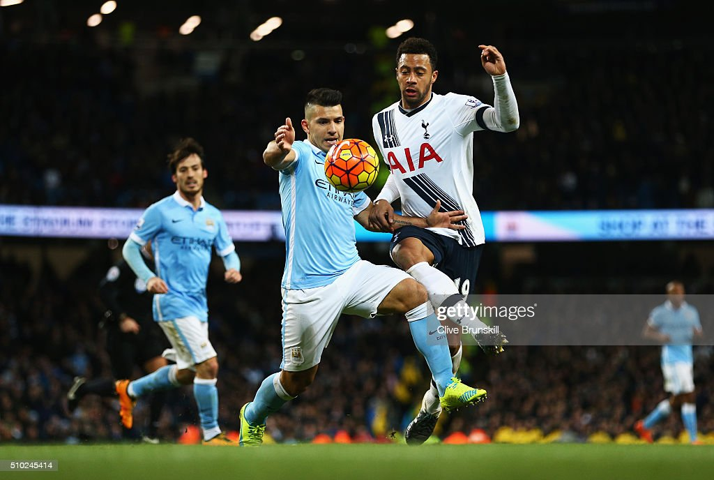 Sergio Aguero of Manchester City challenges for the ball with Mousa Dembele of Tottenham Hotspur during the Barclays Premier League match between Manchester City and Tottenham Hotspur at Etihad Stadium on February 14, 2016 in Manchester, England.
