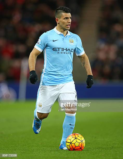 Sergio Aguero of Manchester City controls the ball during the Barclays Premier League match between Sunderland and Manchester City at The Stadium of...