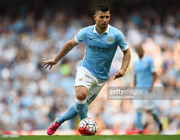 Sergio Aguero of Manchester City controls the ball during the Barclays Premier League match between Manchester City and Arsenal at the Etihad Stadium...