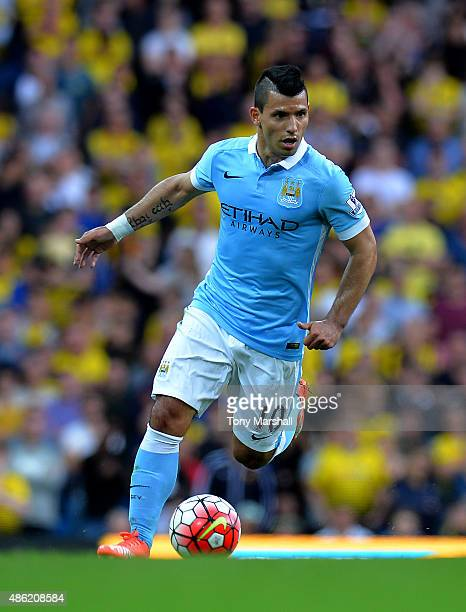 Sergio Aguero of Manchester City during the Barclays Premier League match between Manchester City and Watford at the Etihad Stadium on August 29 2015...