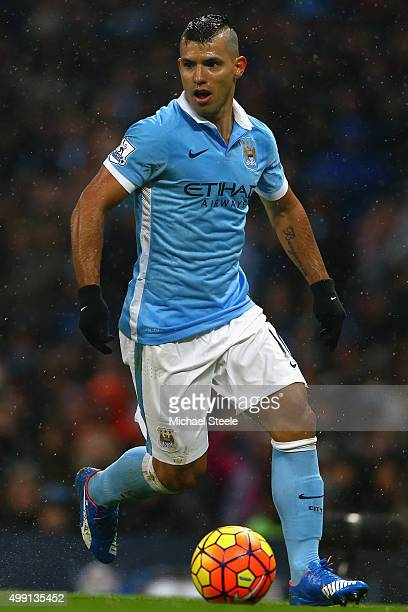 Sergio Aguero of Manchester City during the Barclays Premier League match between Manchester City and Southampton at the Etihad Stadium on November...