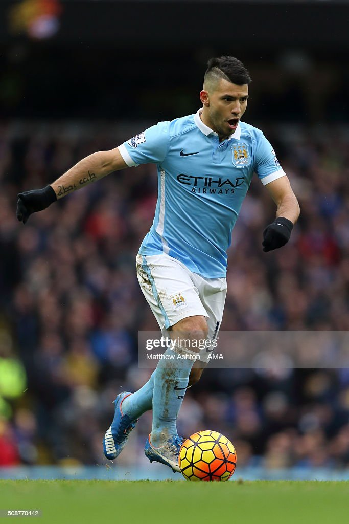 Sergio Aguero of Manchester City during the Barclays Premier League match between Manchester City and Leicester City at the Etihad Stadium on February 06, 2016 in Manchester, England.