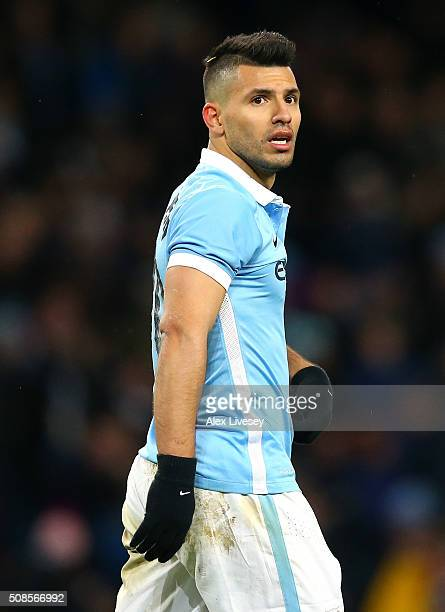 Sergio Aguero of Manchester City during the Capital One Cup Semi Final Second Leg match between Manchester City and Everton at Etihad Stadium on...