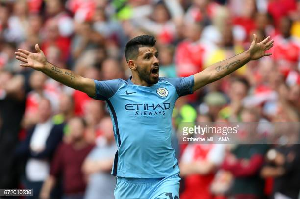 Sergio Aguero of Manchester City during the Emirates FA Cup semifinal match between Arsenal and Manchester City at Wembley Stadium on April 23 2017...