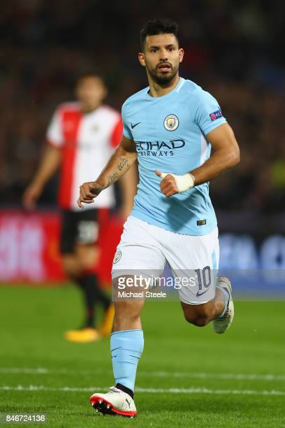 Sergio Aguero of Manchester City during the UEFA Champions League group F match between Feyenoord and Manchester City at Feijenoord Stadion on...