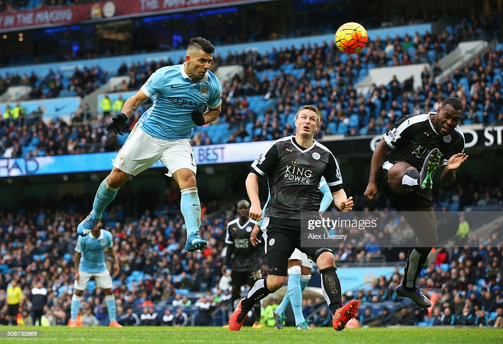 <a gi-track='captionPersonalityLinkClicked' href=/galleries/search?phrase=Sergio+Aguero&family=editorial&specificpeople=1100704 ng-click='$event.stopPropagation()'>Sergio Aguero</a> of Manchester City heads the ball to scores his team's first goal during the Barclays Premier League match between Manchester City and Leicester City at the Etihad Stadium on February 6, 2016 in Manchester, England.