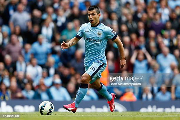 Sergio Aguero of Manchester City in action during the Barclays Premier League match between Manchester City and Southampton held at Etihad Stadium on...